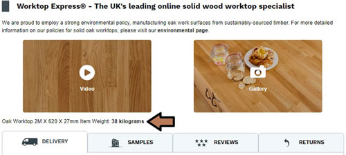 A screenshot of our website with the weight of a worktop