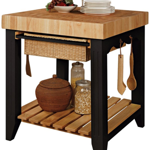 This simple butcher block island could be easily recreated using our oak end grain block and breakfast bar legs.