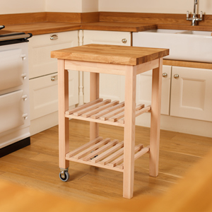 These kitchen trolleys have beautiful beech worktops and sturdy lacquered beech frames.
