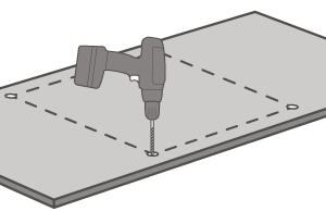 When the cut-out has been measured, drill holes can be created to start the aperture where the edges will not be visible.