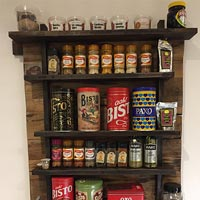 A spice rack made from worktop offcuts