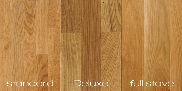Our solid wooden worktop surfaces are available in three distinct construction types.