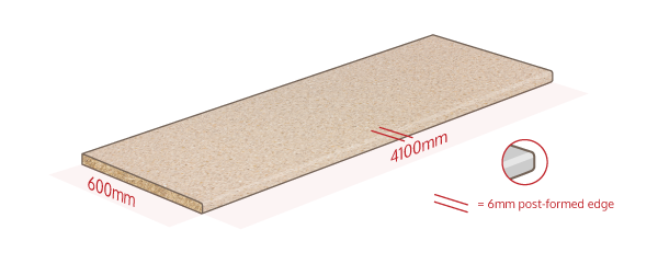 Cream Laminate Work Surface Dimensions