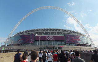 Wembley stadium during the London 2012 Olympic Games solid wood worktops.