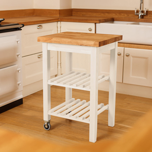 We now sell solid beech kitchen trolleys painted in New White with a lacquered oak worktop wooden counters.