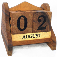 Wood date block made from solid timber.