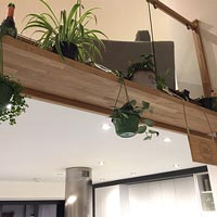 A wooden shelf with hanging plants on a mezzanine level