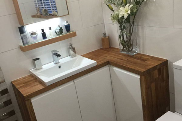 Wooden worktops can be used in a bathroom if treated correctly