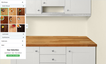 This shows our worktop visualiser, which allows you to select different cabinet and wall colour combinations to choose the best option for the worktops your kitchen.