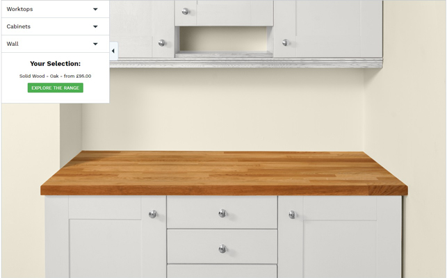 Our worktop visualiser with white cabinets, an oak worktop and cream walls