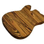 Zebrano guitar shaped chopping board