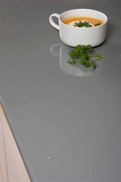 Discover more images of our Grey Sparkle Andromeda laminate worktop range