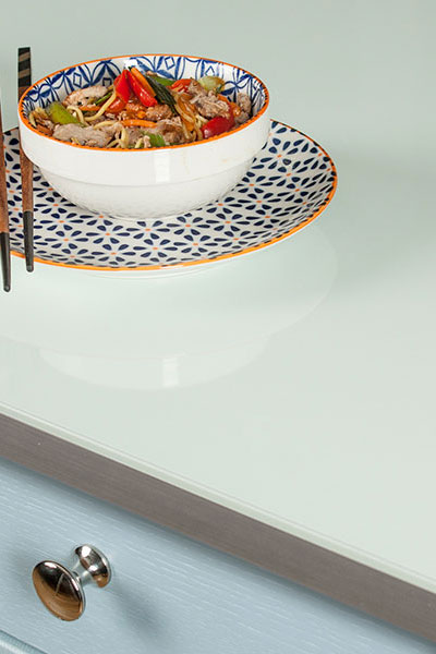 Discover more images of our Mint Green Glass Effect laminate worktop range