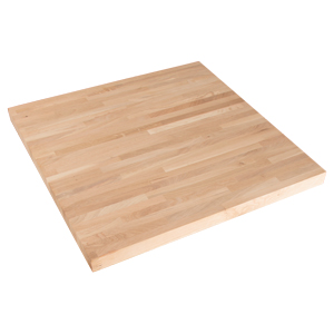 40mm thick, square, solid oak tabletop.