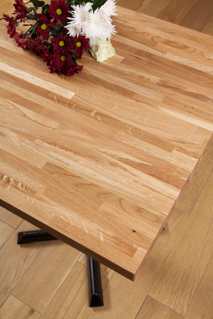 Solid oak restaurant table top measuring 620mm square.