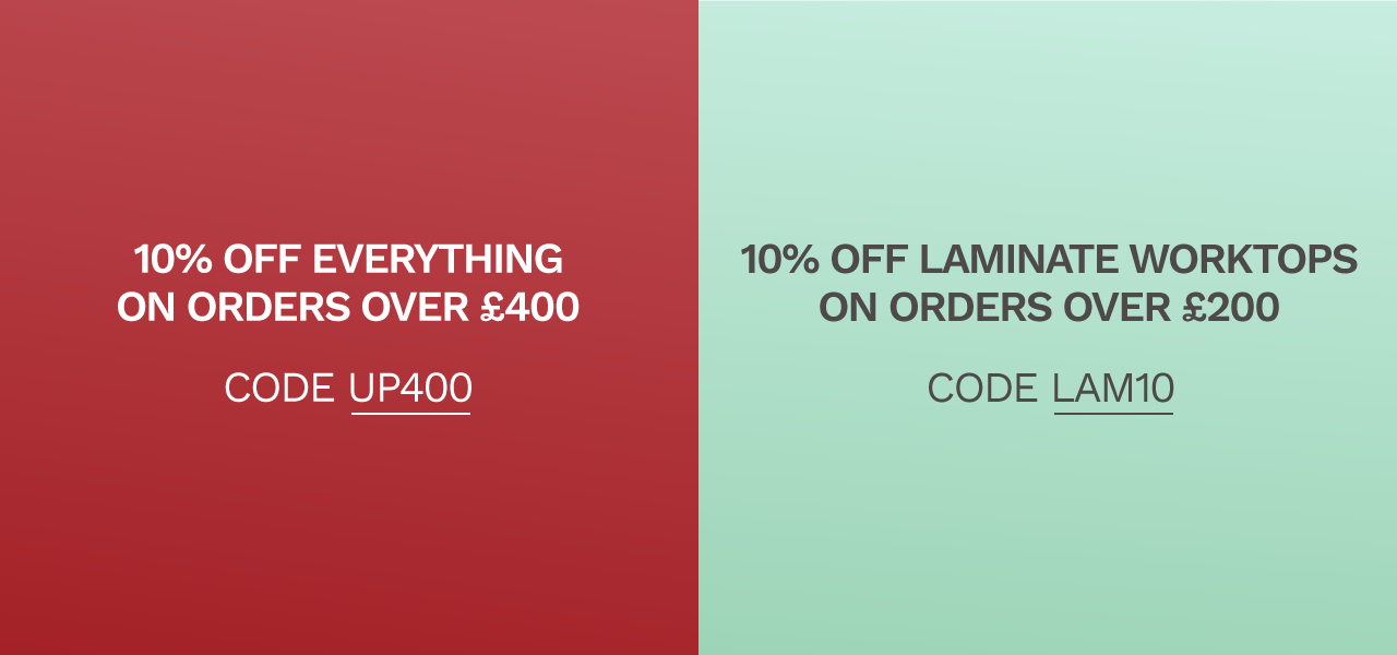 10% off everthing on orders over £400 and 10% off laminate worktops on orders over £200
